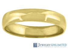 Solid 10K Yellow Gold Mens Ladies Wedding Engagement Ring Band 4mm Size 5-13
