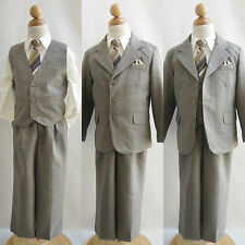 Cute LTO Dark Taupe striped/ivory shirt toddler boy wedding party formal suit