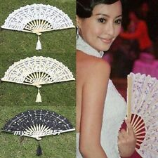 Wedding Party Chinese Japanese Foldable Lace Trim Hand Fan 3 Colors Floral Print