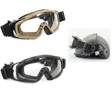 1X Airsoft Combat Ballistic Protection Goggle Helmet Glasses & 2 Lens Black/Tan