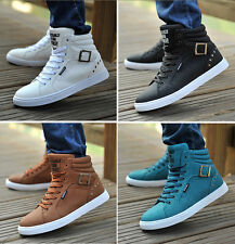 Men's Casual Lace Up Round Toe High Top Sneakers Running Sport Boots Shoes T256