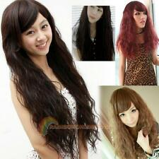 NEW 4 Colors Women Corn Perm Fluffy Long Curly Hair Wig Oblique Bangs Wig