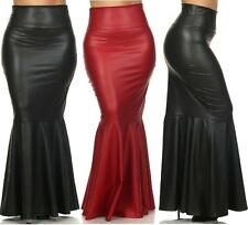 PLUS SIZE RED FAUX LEATHER HIGH WAIST SLIM FITTED LONG MERMAID FLARE MAXI SKIRT