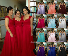 Long Chiffon Formal Wedding Evening Party Ball Gown Prom Bridesmaid Dress 6-18