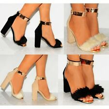 WOMEN FAUX FUR GOLD METAL ANKLE CUFF STRAP STRAPPY SANDALS HIGH HEELS SHOES SIZE