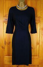 RRP£76 NEW JIGSAW BLUE BLACK VINTAGE STYLE STRETCHY JERSEY  DRESS 8 10 12 14