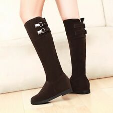 Women's Faux Suede Round Head Flat Heel Pull On Buckle Knight Knee High Boots