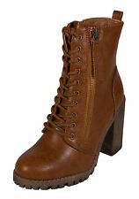 Malia! Soda Women's Military-style Ankle Lace-up Combat Boots Tan Leatherette
