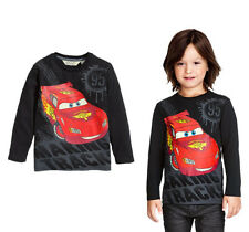 Pop Fashion Kids Boys Cartoon Cars Black Long Sleeve Tops T-shirt Blouse 2~7Y