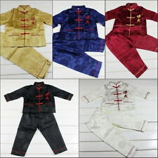"Lovely 2PC Chinese Boy's Brocade Character ""kung fu"" Suit Clothing 2--16"