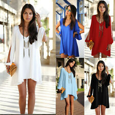 HOT Sexy Tops Women Lady Chiffon Boho V Neck Split Long Sleeve Loose Mini Dress