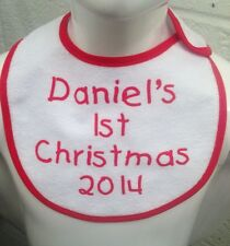 Personalised baby's first christmas bib