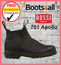 NEW ROSSI Work Boots Steel Toe Black Slip On Safety Apollo 701