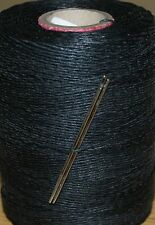 STRONG WAXED LINEN HAND SEWING THREAD FOR LEATHER/CANVAS & 2 NEEDLES - BLACK