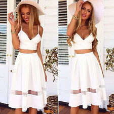 1Set Women Two Piece Crop Top Midi Skirt Set Summer Holiday Beach Skirt Fashion