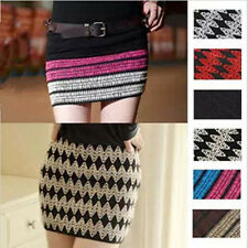Retro Women's Sexy Mini Skirts Knitted Bandage Stretch Slim Winter Pencil Dress