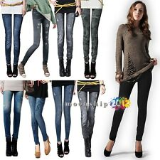 Sexy Frauen Viele Patterned Denim Strumpfhosen Leggings Jeans Skinny Pants