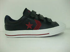 Converse Star Player OX Velcro Black Unisex Youths Leather Trainers