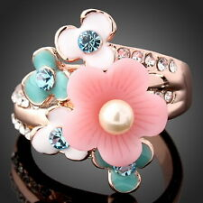 New Fashion Flower Shape Inlay Painting Ring Rose Gold Plated Jewelry Size 5.5-9