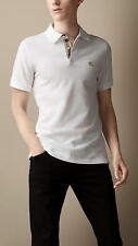 Burberry Brit mens white short sleeve nova check placket polo shirt s,m,l,xl,xxl
