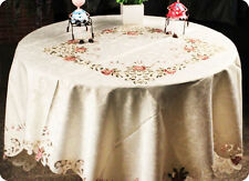 Satin Jacquard Table Cloth with Beautiful Embroidery, Square or Retangle 4 size