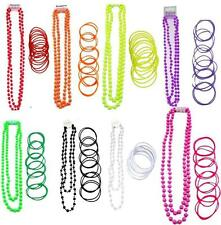 Neon Gummie Bangles and Beads Necklace Fancy Dress 1980s 80s