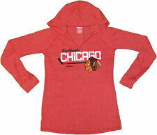 Chicago Blackhawks Women's Hooded Long Sleeve Tee NHL Official Reebok T-Shirt