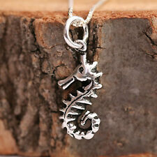 925 Sterling Silver Handcrafted Antiqued Seahorse Pendant Chain Necklace w Box