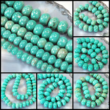 12x8 to 20x16mm Magnesite Turquoise Rondelle Beads 15 ,pick your size.