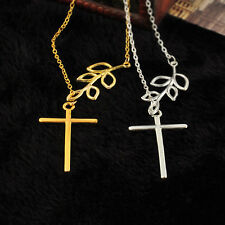 1PC Fashion Unique Branch Cross Leaf Cross Pendant Charm Plated Chain Necklace