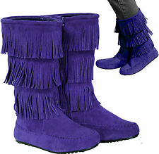 New women's shoes mid shaft boot fringe detail side zipper suede like royal blue
