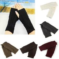 Winter Women Gloves Fingerless Knitted Wool Short Unisex Mittens for Warmer