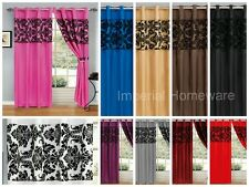LUXURY DAMASK FLOCKED RING TOP IMPERIAL CURTAINS WITH FULLY LINED WITH TIE BACKS