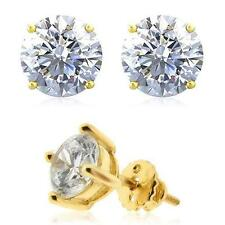 Mens Ladies Yellow Gold Fin Round Cut Lab Diamond Earring Stud Solitaire Screw
