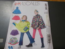 McCalls Pattern M6196 Girls EZ Ponchos with or without hood  & Arm Warmers