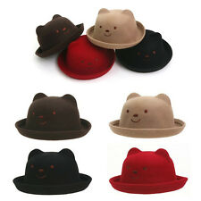CHILDREN KIDS BOYS GIRLS TODDLER BABY FELT BEAR FEDORA TRILBY BOWLER HAMBURG HAT