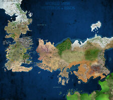 Game Of Thrones Map in Colour Fabric Art Cloth Poster 17inch x 13inch Decor 62
