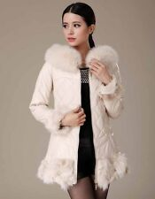 0428 Sheep Skin Leather Fox collar Down padded feather Fur Coat Jacket Trench
