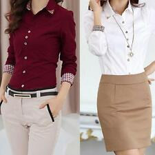 Women OL Shirt Turn-down Collar Long Sleeve Button Blouse Tops 2 Colors