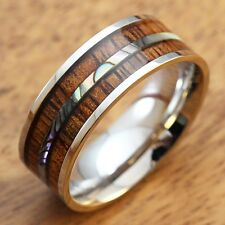 8mm Stainless Steel Ring with Koa Wood and Abalone Shell Inlay