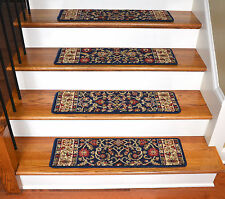 "Dean Premium Carpet Stair Treads - Classic Keshan Navy Blue 31""W"