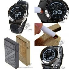 Men USB Electronic Rechargeable Battery Flameless Cigarette Lighters Wrist Watch