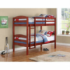 Twin Over Twin Bunk Bed Combo Kids Furniture Wood Convertible Bunkbed/Mattresses