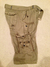 NWT Boy's LR Scoop Light Olive Green Solid Belted Cargo Shorts ALL SIZES 8-18