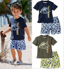 Baby Kids Children Summer Beach Clothing Dinosaur T-shirt Pants 2pcs Outfits1~6Y