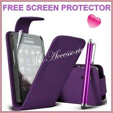 New Purple Plum Flip PU Leather Case Cover Pouch for All Major Mobile Phones