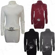 Womens Knitted Polo Neck Buckle Belted Long Sleeve Ladies Top Dress Jumper 8-14
