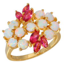 White Opal Tourmaline Women Jewelry Gems Silver & Yellow Gold Filled Ring OJ6223