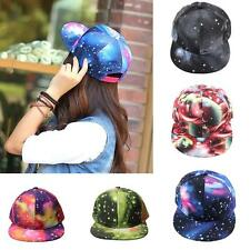Women Galaxy Space Print Baseball Snapback Unisex Hip Hop Peak Cap Casual Hats