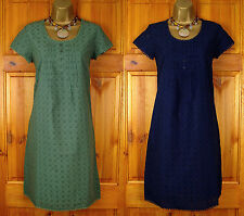 RRP £69 NEW SEASALT NAVY BLUE GREEN COTTON BRODERIE VINTAGE STYLE SUMMER DRESS